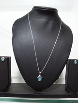 Chain For Girl Pendant & Earring Kids Easter Gift Aqua Inked In Solid 92... - $39.99