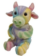 "Cow Figurine Rainbow Pastel Calf Sitting Up Resin Collectible Decor 3.75"" - $8.81"