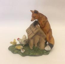 Geo Z Lefton porcelain figurine Finger Lickin' Good fox chickens vintage... - $7.00