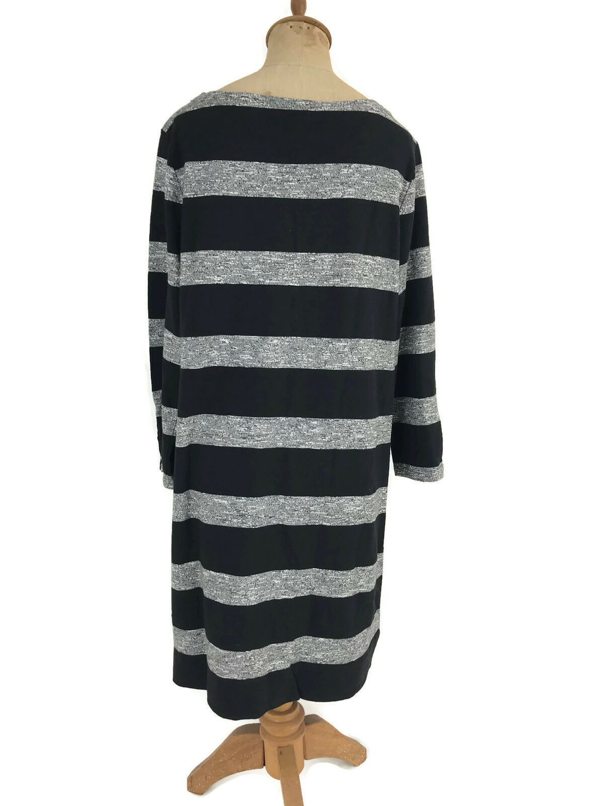 J. Crew Factory Dress Black Gray Stripe Boatneck 3/4 Sleeves Style 02665 Sz L U1 image 4
