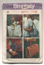 Vintage 1975 Simplicity Pocketbooks, Totes, Bags Sewing Pattern #7004 - $9.70