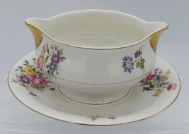 Theodore Haviland New York Gravy Sauce Boat Attached Under Plate Pasadena Floral - $24.74