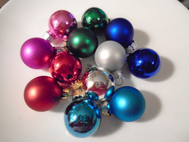 12 Mini Glass Balls Christmas Miniature Ornaments Feather Tree Pink Blue... - $9.89