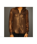 Womens New NWT $99 Jones New York Blouse Top Metallic Brown Copper 4P 4 ... - $19.60