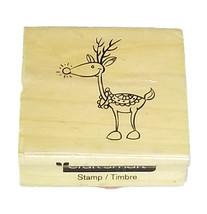 Craftsmart Reindeer Rubber Mounted on Wood Stamp image 1
