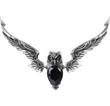 Stryx Vampire Owl Pendant Athena Black Crystal Necklace P753 Alchemy Gothic NWT - $89.95