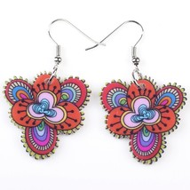 Bonsny drop red flowers earrings acrylic dangle pattern new 2015 spring ... - $9.19