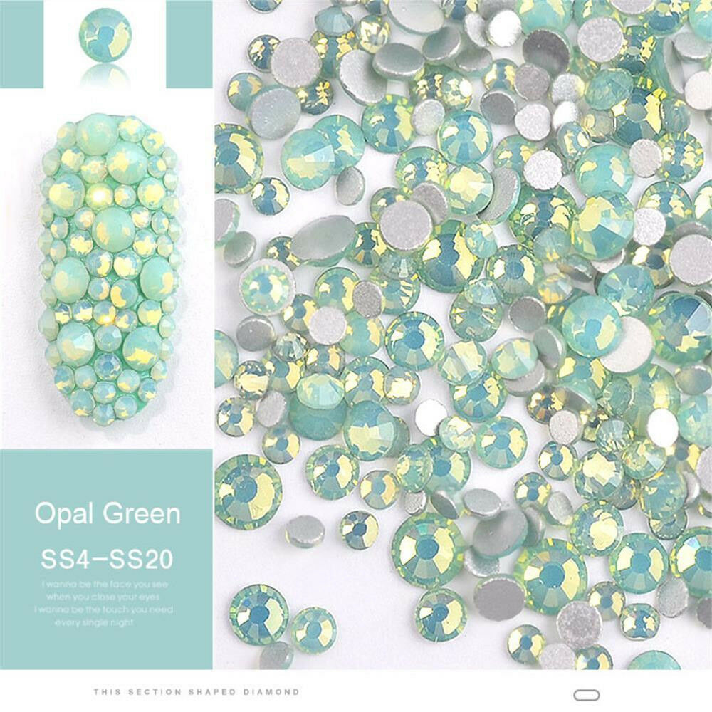 DIY Multi Size 3D Opal Nail Rhinestones Crystal Glass Gems For UV Gel Nail Art