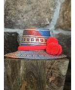 multicolour  Wayuu Hat Woven Straw HandCrafted Stylish Pom Panama Hat Sun M - $75.00