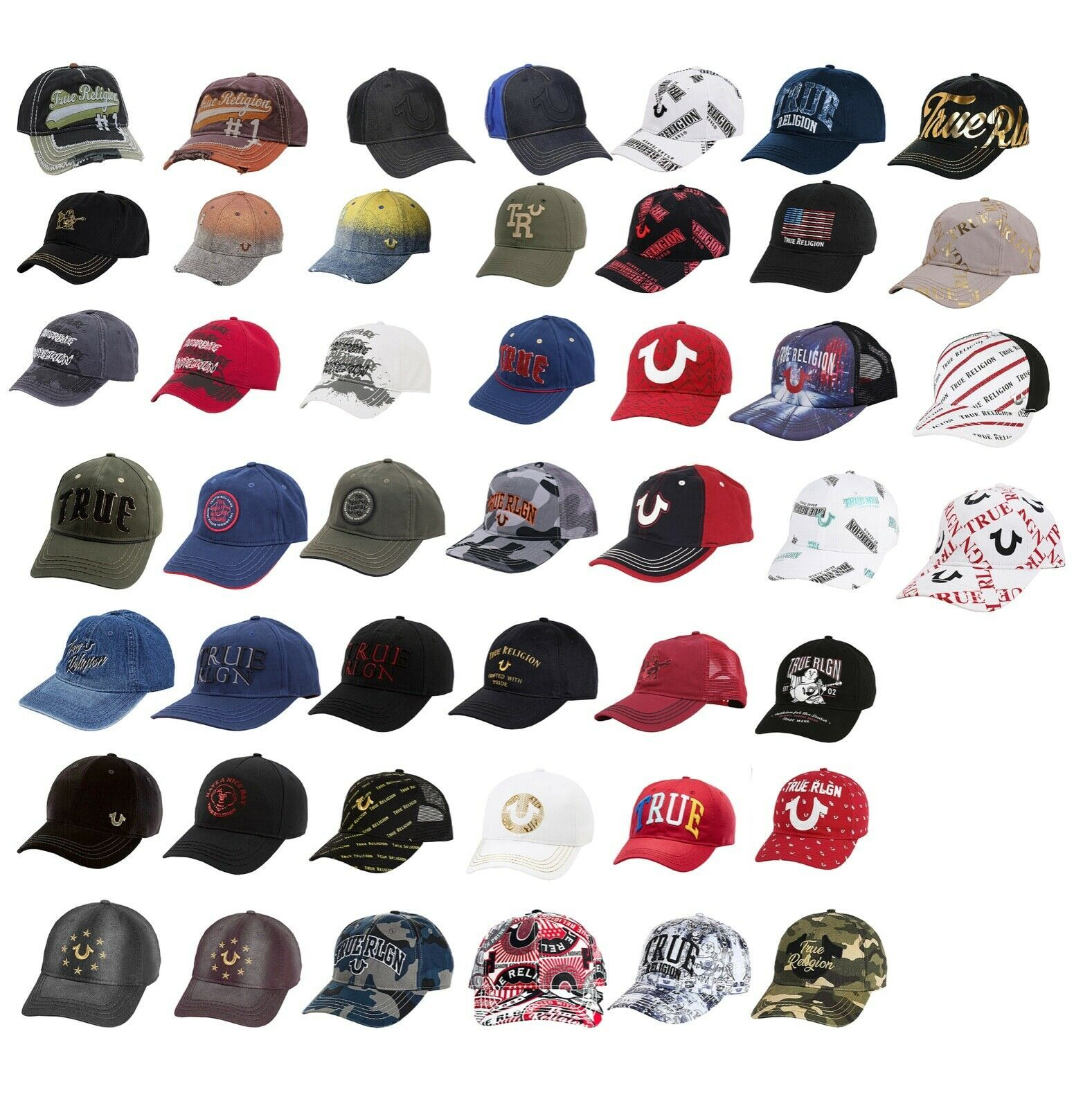 Wholesale Lot True Religion Men's Premium Adjustable Baseball Trucker Hat