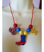 cowboy cowgirl wood beads charms childrens jewelry crafts kit wooden cha... - $3.99