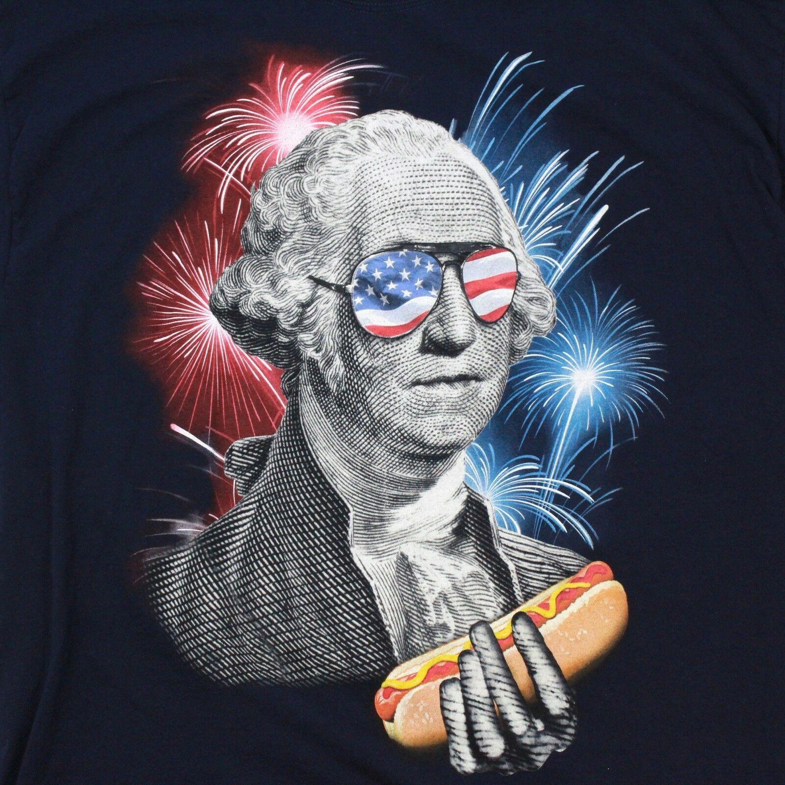 Vintage Frucht Herren T-Shirt George Washington Hotdog Freedom T-Shirt Patriot