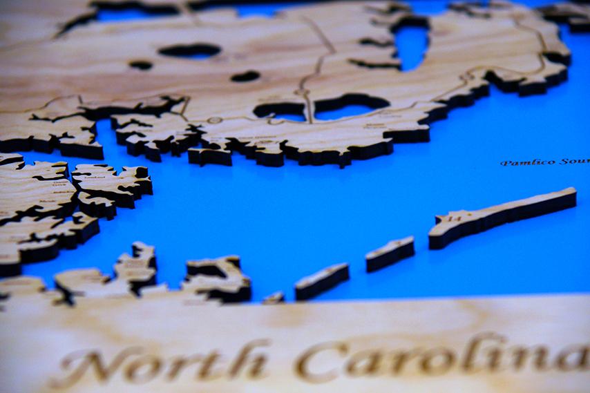 Outer Banks, North Carolina - Wood Laser Cut Map - Wall Hanging