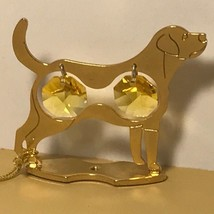 CRYSTAL DELIGHT MASCOT AUSTRIA 24K GOLD PLATED ANIMAL DOG FIGURINE ROTTW... - $19.75