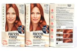 3 Boxes Clairol Nice N Easy Repair Plex 6.5R Light Radiant Auburn Hair Dye  - $26.99