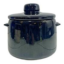 Vintage Bean Pot Crock Pot Black Glazed Stoneware Pot with Lid and Handles - $16.65