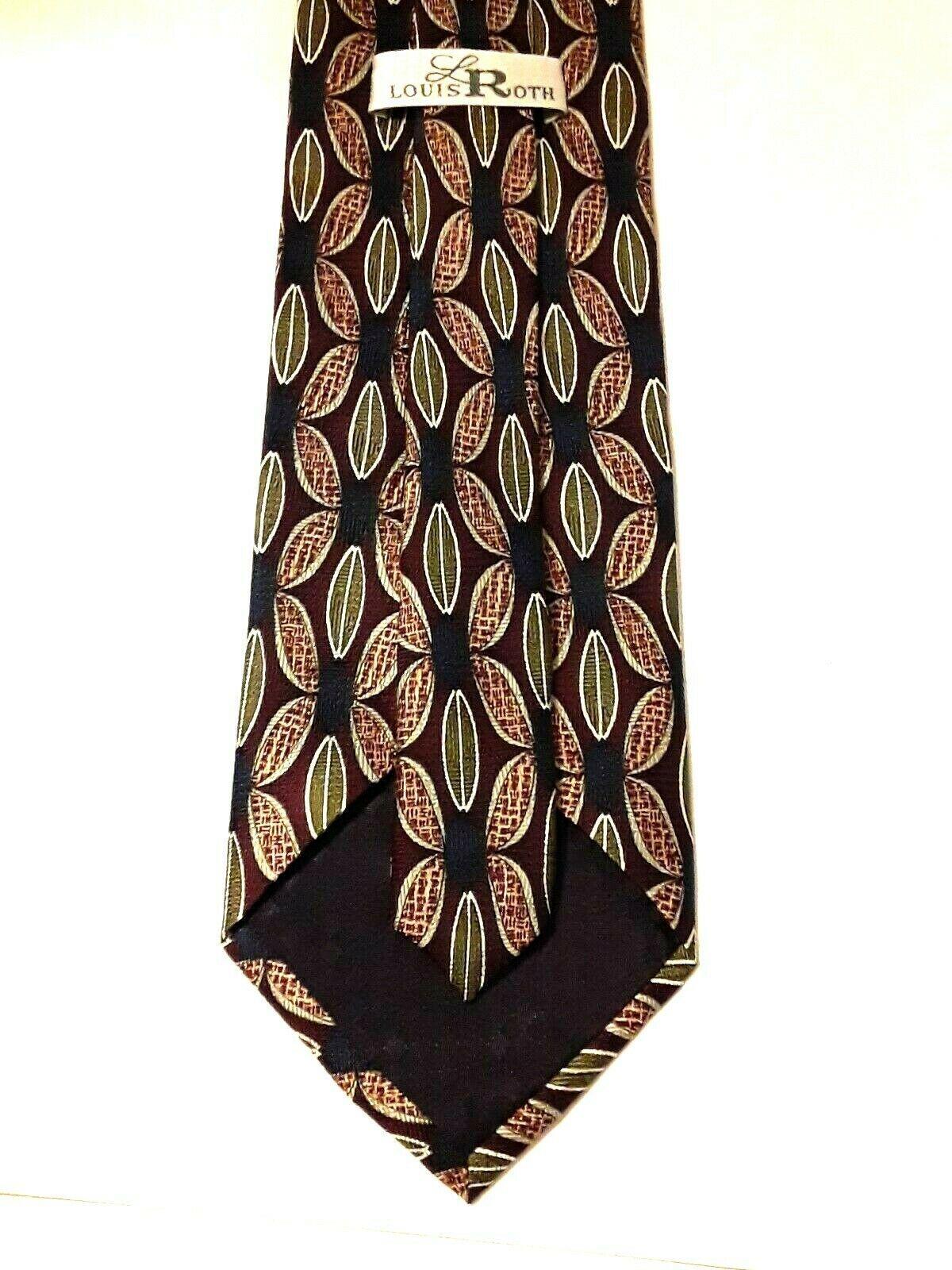 "Louis Roth Men's Tie Necktie 100% Silk Gold Black Burgundy Geometric 59"" x 4"" image 3"