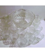 Wexford Scallop Punch Bowl Set with 14 Cups - $10.00