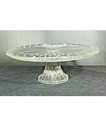 """Vintage Clear 16 in Glass Pedestal Cake Stand Marked """"ITALY"""" - $17.64"""