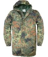 German Parka Original Army Military Hooded Jacket Field Flecktarn Camo Used - $34.08