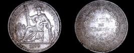 1899-A French Indo-China 1 Piastre World Silver Coin - Vietnam - $189.99