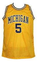 Jalen Rose #5 Custom College Basketball Jersey New Sewn Yellow Any Size image 4