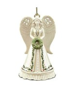 Lenox Holiday Angel Bell Christmas Ornament Figurine Wreath 14K Gold Tri... - $34.99