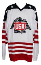 Custom Name # Team USA Canada Cup Hockey Jersey New White Lopresti #1 Any Size image 1