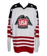 Custom Name # Team USA Canada Cup Hockey Jersey New White Lopresti #1 An... - $54.99+