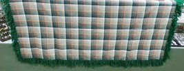 "Native American Womens Wool Shawl Green Orange Gray Plaid Fringe 61""x 58... - $79.99"