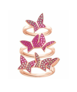 Swarovski Crystal LILIA Ring set 3 Butterflies NIB 55/7/M Rose Gold Auth... - $147.51