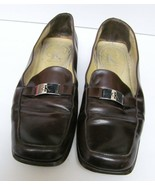 CALVIN KLEIN LOAFERS SHOES SLIP ON LEATHER CK MONOGRAM TAB ITALY BROWN 8 M - $22.95