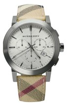 Burberry Men's Watch BU9357 Swiss Leather Strap 42mm White Chroniograph ... - $179.00