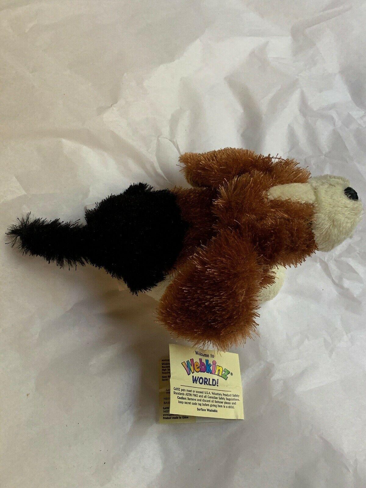 Ganz Webkinz Shaggy Brown White Basset Hound Puppy Dog Stuffed Plush Animal 9in image 3