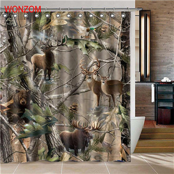WONZOM 1Pcs Deer Waterproof Shower Curtain Lion Bathroom Decor Horse Decoration
