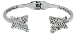 Butterfly Silver Hinged Cuff Bracelet Jewelry Resurrection Hope Life Change - $13.80