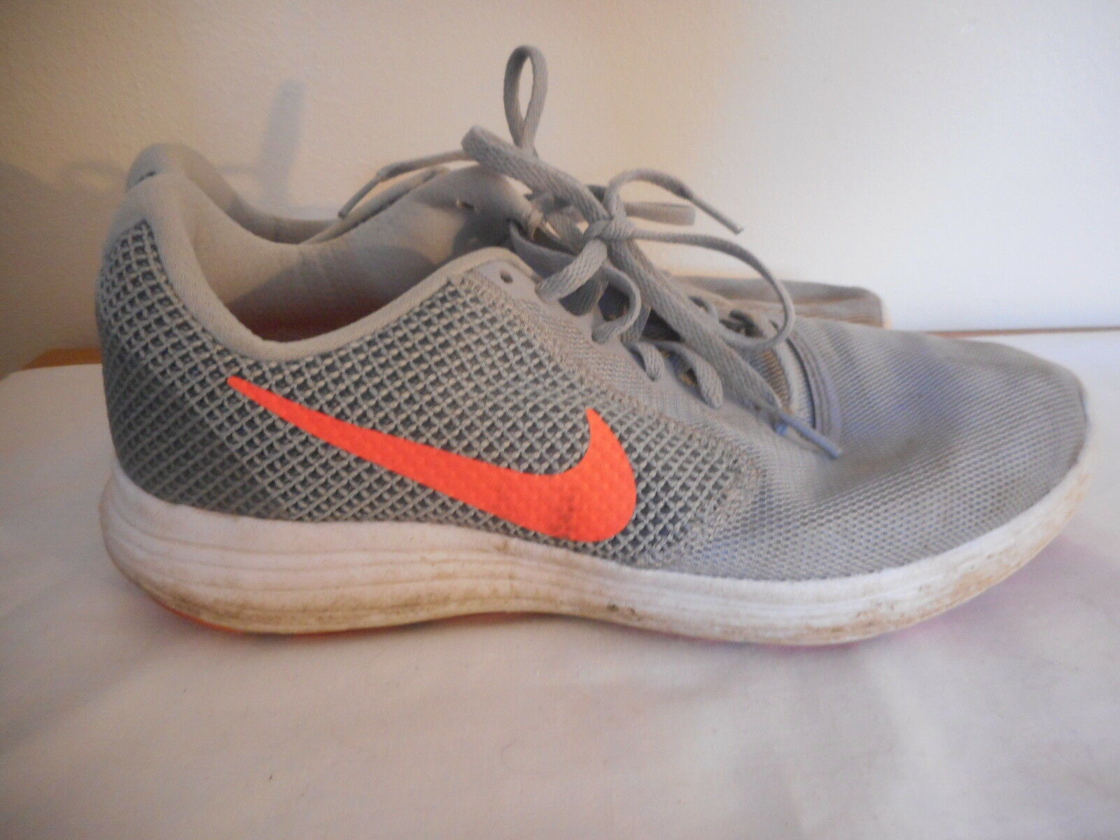 Nike Size 9 Womens Grey Orange Athletic Shoes Sneakers
