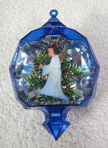 "Jewel Bright Diorama Christmas Ornament Blue with Angel 3 1/4""  Nice Sha... - $18.32"