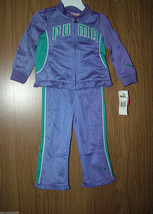 Puma Baby Girls 2 Pc Tracksuit Set, Purple/Green Color. Size 18 Months. NWT - $24.74