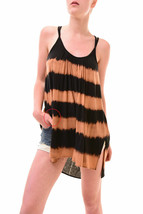 Free People Women's Unique Striped Girl Slip Black Brown RRP 59 BCF77 - $33.26