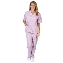 Lilac VNeck Top Drawstrng Pants SM Unisex Medical Natural Uniforms Scrub Set New - $35.25