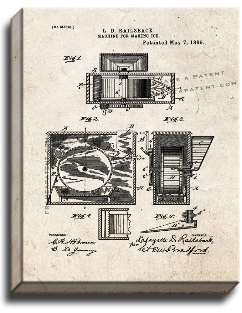 Primary image for Machine For Making Ice Patent Print Old Look on Canvas