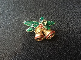 Gold Tone Pin / Brooch Christmas Theme Bells & Holly Green Red Vintage - $6.00
