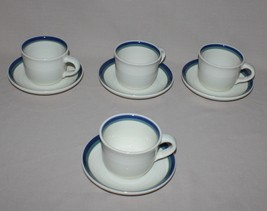 4 Cups and Saucers Pfaltzgraff Northwinds Blue Green Stoneware  - $12.82