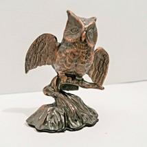 Vintage Metal Owl 1980's Cast Metal with Wings Spread Flying Bird Copper... - $23.36