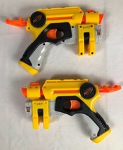Lot of 2 Hasbro Nerf Nite Finder Pull Back Action Pistol Dart Guns W Las... - $12.73