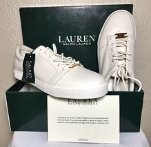 Lauren By Ralph Lauren Women's Reaba White Leather Sneaker US 8.5 NEW WITH BOX - $156.07 CAD