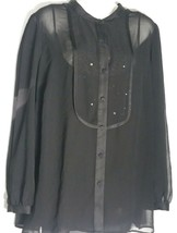 Talbots Woman Top 20W Plus Black Semi Sheer Attached Cami Sequin Flowy NWT - $49.49