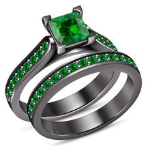 Princess Cut Emerald Bridal Wedding Ring Set 14k Black Gold Plated 925 S... - $75.00