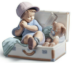 "LLADRO #6795 ""MY FAVORITE PLACE"" BOY SUITCASE TEDDY BEAR TOY CHEST EUC - $296.99"
